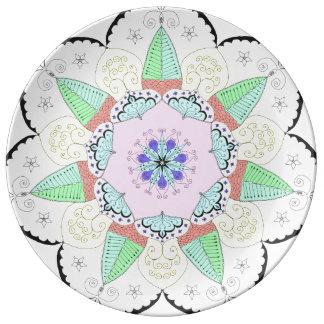 Mandala Art Patterns Designs Flower Floral Yoga om Porcelain Plate