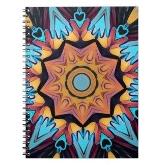 Mandala artística del melocotón azul libro de apuntes con espiral