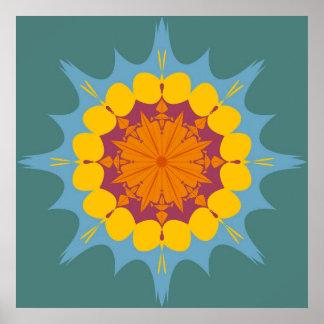 Mandala artística en amarillo, púrpura, azul posters