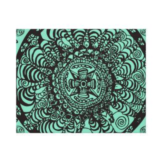 Mandala azteca negra y verde estupenda impresiones en lienzo estiradas