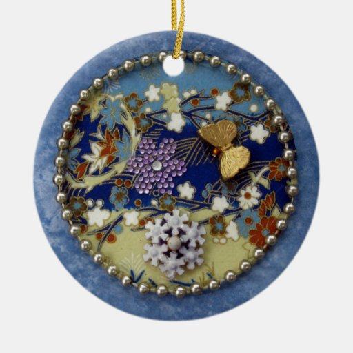 Mandala azul - collage ornamento para arbol de navidad