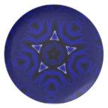 Mandala azul con la estrella y las flores plato