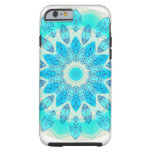 Mandala azul de la estrella del hielo, luz alegre funda para iPhone 6 tough