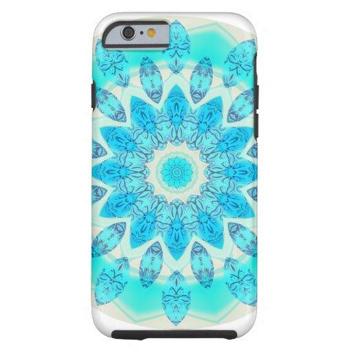 Mandala azul de la estrella del hielo, luz alegre funda de iPhone 6 tough