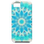 Mandala azul de la estrella del hielo, luz alegre  iPhone 5 funda