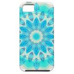 Mandala azul de la estrella del hielo, luz alegre iPhone 5 coberturas