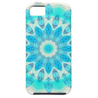 Mandala azul de la estrella del hielo luz alegre iPhone 5 funda