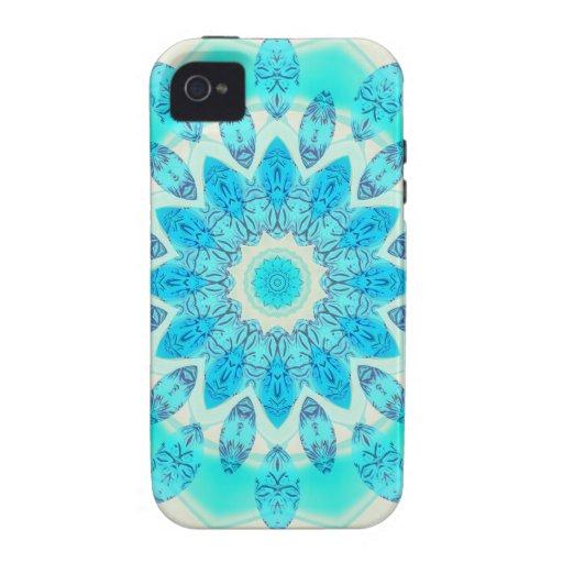Mandala azul de la estrella del hielo, luz alegre  vibe iPhone 4 carcasas