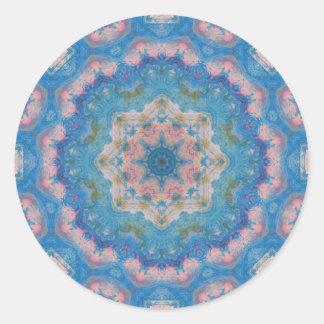 Mandala azul de las técnicas mixtas etiqueta redonda