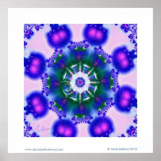 Mandala azul del resplandor póster
