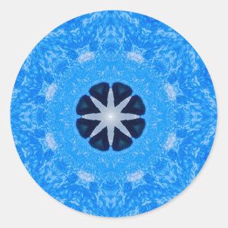 Mandala azul pegatina redonda