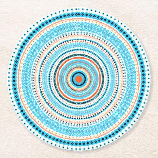 Mandala azul posavasos personalizable redondo