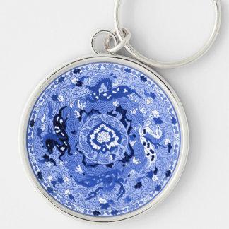 Mandala azul y blanca china antigua llaveros personalizados