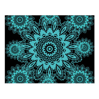 Mandala azul y negra del trullo del cordón del postales