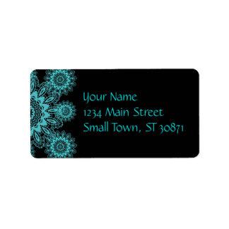Mandala azul y negra del trullo del tapetito del c etiqueta de dirección