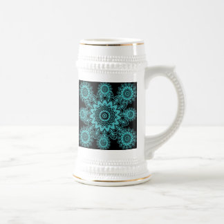 Mandala azul y negra del trullo del tapetito del jarra de cerveza