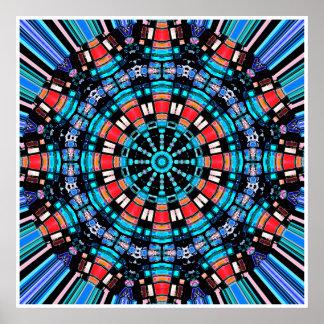 Mandala azul y roja negra póster
