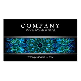 Mandala azul y verde moderna de las gemas tarjetas de visita