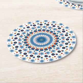 Mandala azulala posavasos de cartón redondo