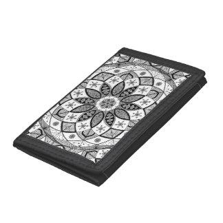 Mandala B&W Drawing Doodling Zen Pattern wallet