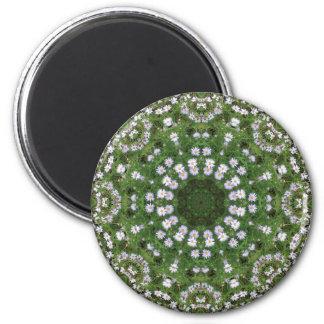 Mandala blanca de los Wildflowers de Fleabane de l Imán Redondo 5 Cm