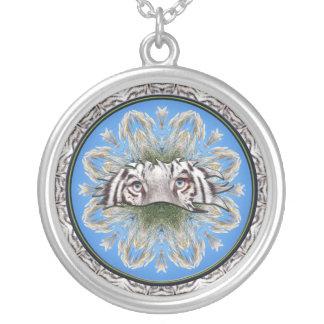 Mandala blanca del tigre grimpola personalizada