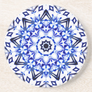 Mandala blanca y azul del caleidoscopio posavasos personalizados