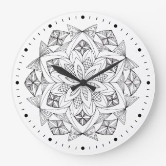 Mandala blanco y negro dibujada mano reloj redondo grande