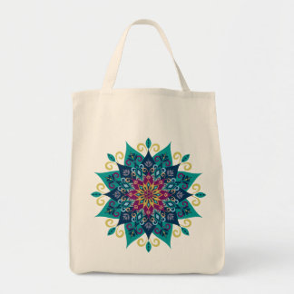 Mandala Bloom-Turquoise & Indigo Blue Tote Bag