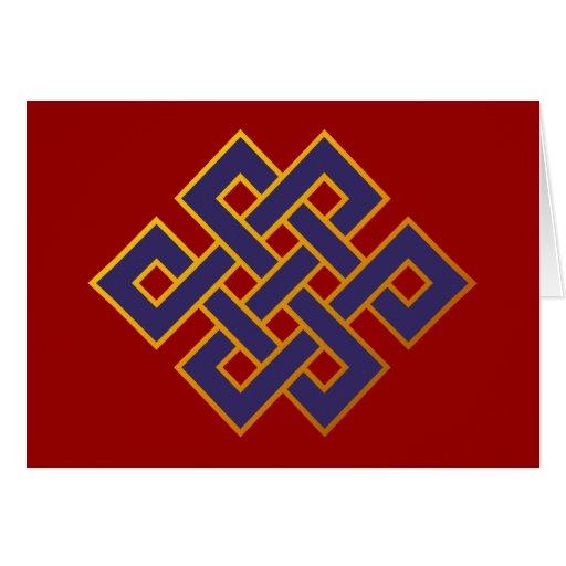 Mandala  Blue Karma Buddhism Eternal Knot Greeting Cards
