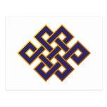 Mandala  Blue Karma Buddhism Eternal Knot Post Card