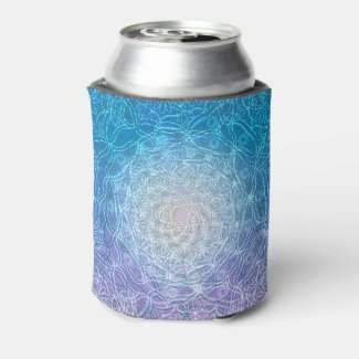 Mandala Blue Violet Reflection Can Cooler
