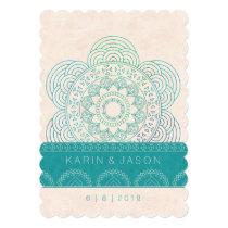 Mandala Boho Chic Teal Wedding Card