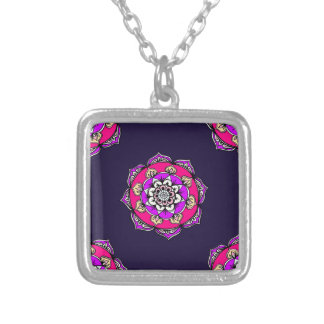 Mandala Bright Silver Plated Necklace