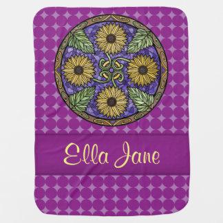 Mandala Bright Sunflowers Purple Name Custom Swaddle Blanket