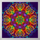 Mandala brillante brillante del fractal abstracto poster