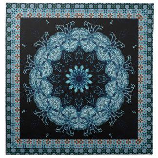 Mandala brillante de la estrella azul servilleta imprimida