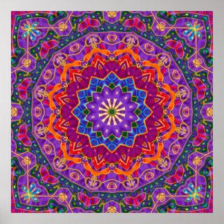 Mandala brillante de la India Póster
