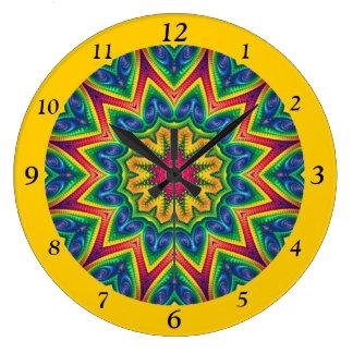 Mandala brillantemente coloreada 12-Sided Reloj Redondo Grande