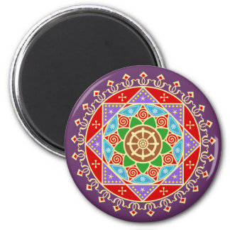 Mandala budista de la rueda de Dharma Imán Redondo 5 Cm