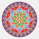 Mandala budista de la rueda de Dharma Etiqueta Redonda