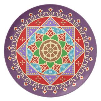 Mandala budista de la rueda de Dharma