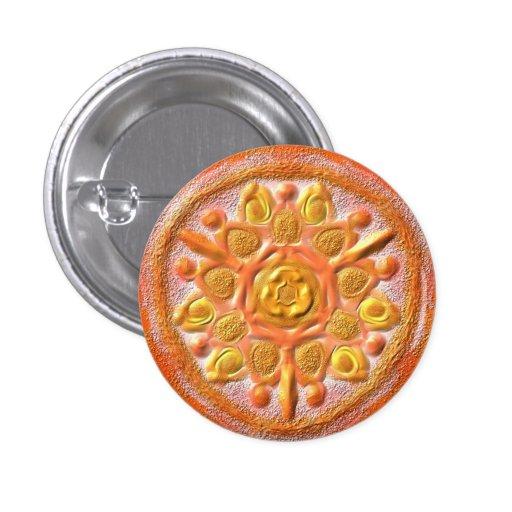 "Mandala Button ""naranja 1 "" Pin"