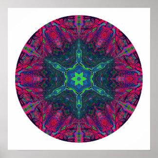 Mandala caleidoscópica 2 del copo de nieve impresiones