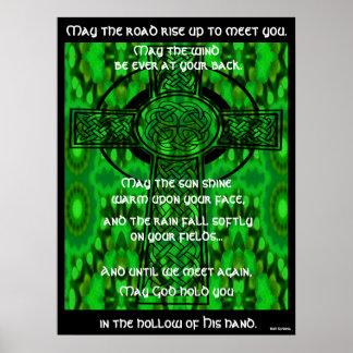 Mandala caleidoscópica - bendición irlandesa 3 póster