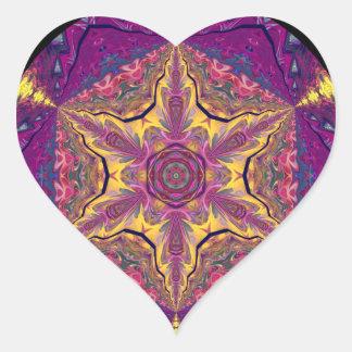 Mandala caleidoscópica Starburst Design.2 Pegatina En Forma De Corazón