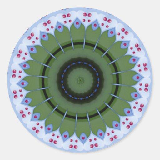 Mandala calurosa del caleidoscopio de la rueda pegatina redonda