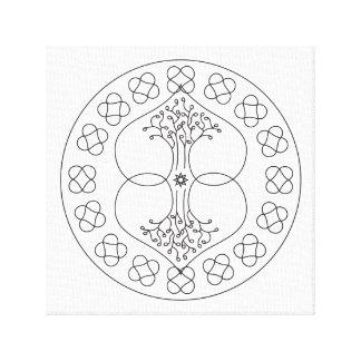 Mandala Canvas Print Duality W/B