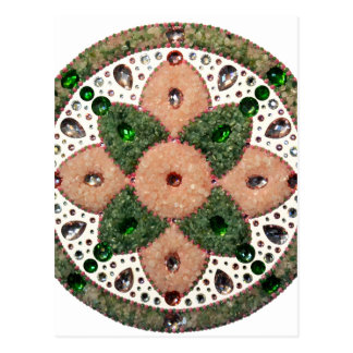 Mandala Cardiac Chacra Quartz Rose and Verde Postcard