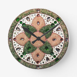 Mandala Cardiac Chacra Quartz Rose and Verde Round Clock